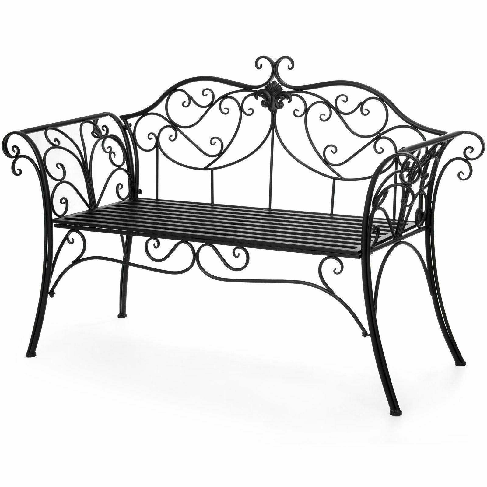 BCP 52in 2-Person Iron Patio Garden Bench w/ Scroll Details,