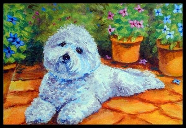 Bichon Frise on the patio Indoor or Outdoor Mat 24x36 7346JM