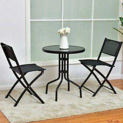 Bistro Table Set Patio Foldable Chairs Storage Sturdy Durable