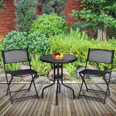 Bistro Table Foldable Chairs Storage Durable Home
