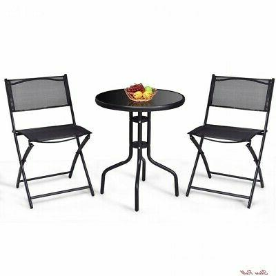 bistro table set patio foldable chairs storage