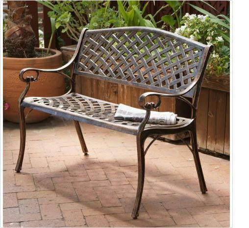 copper aluminum bench christopher knight rust proof