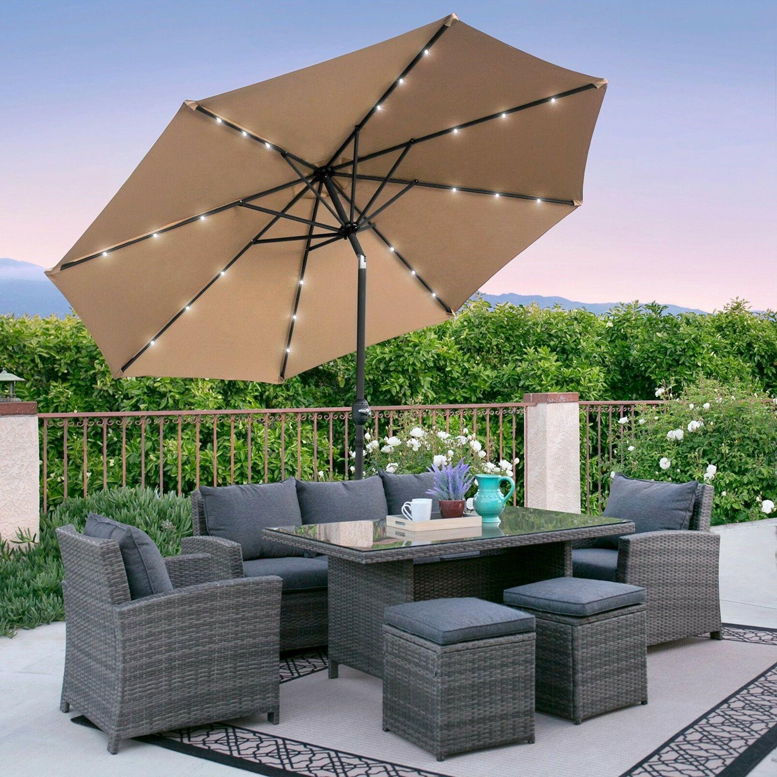 deluxe solar lighted patio umbrella