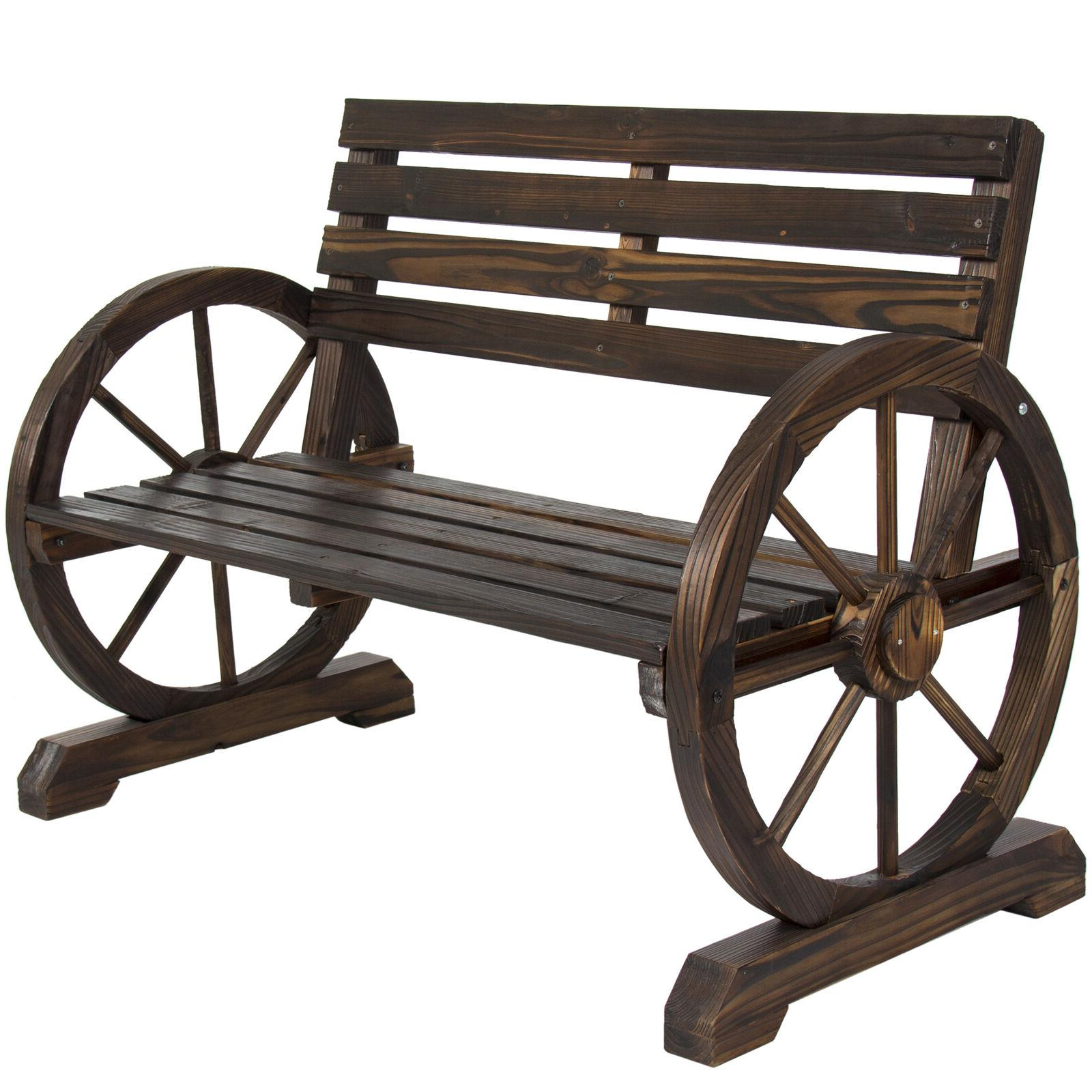 Fir Wooden Rustic Wagon Wheel Bench Seating Patio/Garden/Out