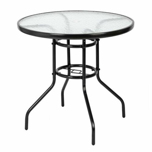 """Garden 32"""" Patio Round Tempered Glass Dining Table Umbrella Hole"""