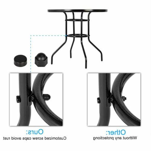 Garden Table Round Tempered Glass Dining Table with Hole