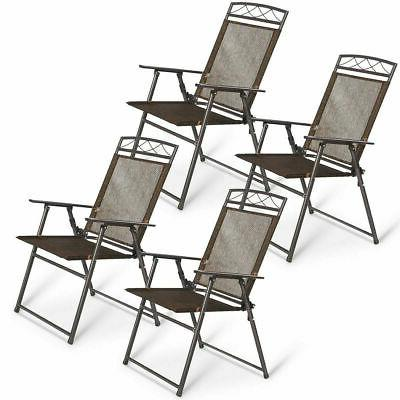 New Set of 4 Patio Folding Sling Chairs Steel Textilene Camp