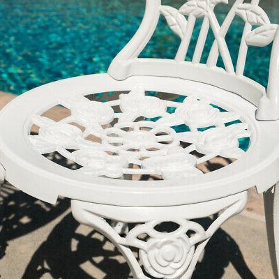 Outdoor 3 Patio Set Rose Resistant Table Chairs White