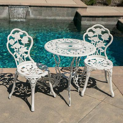 Outdoor Piece Set Design Weather Resistant Table 2 Chairs White