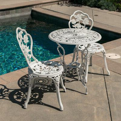 Outdoor 3 Piece Set Design Weather Resistant Table Chairs White