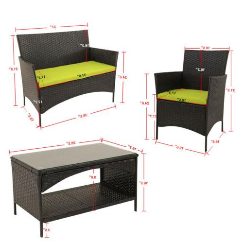 Outdoor Furniture Set Patio Table Green Cushion