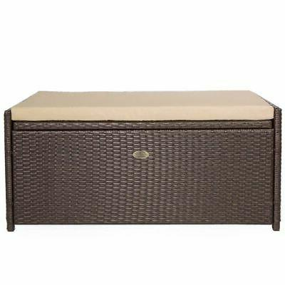 All Weather Outdoor Patio Deck Box Storage Wicker Rattan Poo