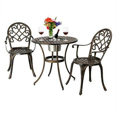 3PC Outdoor Patio Dining Set Ice Bucket Dining Table Chair C
