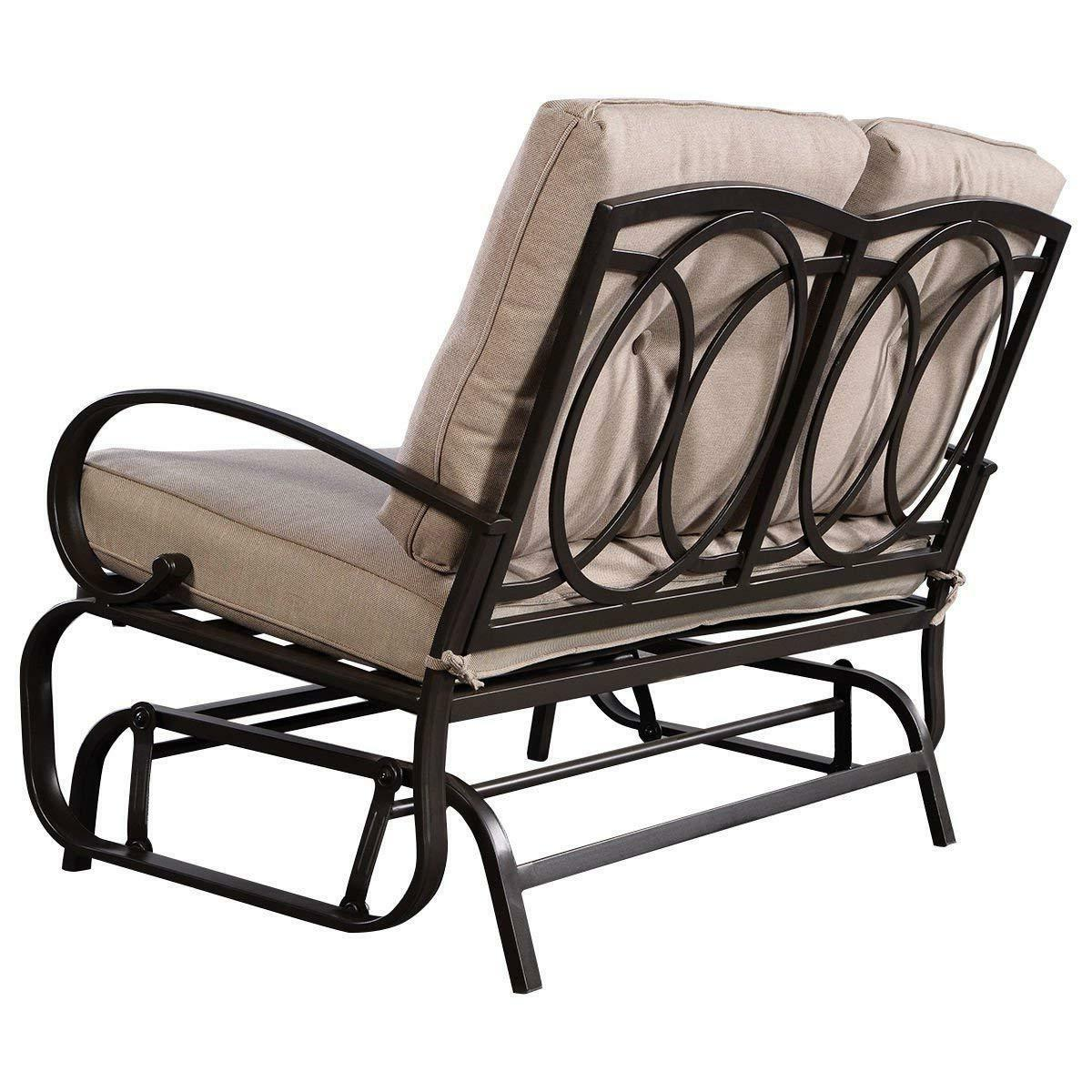 Giantex Outdoor Rocking Bench Glider Loveseat Cushioned 2 Seats
