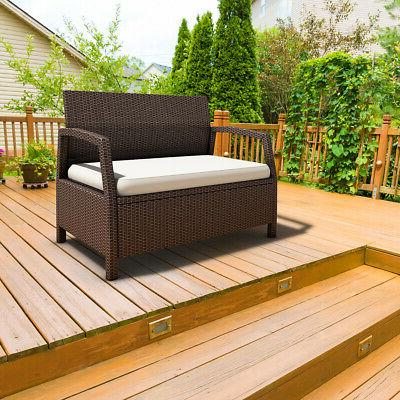Outdoor Rattan Bench Couch Brown W/