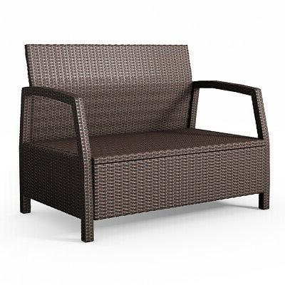 Outdoor Loveseat Couch Patio Brown W/ Cushions