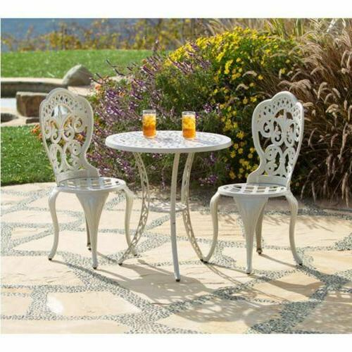 outdoor seating cast aluminum bistro table chair