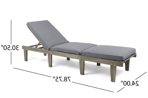 Outdoor Wood Chaise Cushion Patio Furniture Grey