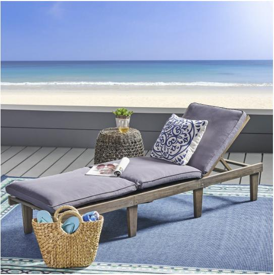 outdoor wood chaise lounge cushion patio furniture