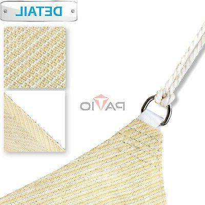 Patio 8' Tan Beige Shade Sail Square Canopy - Permeable