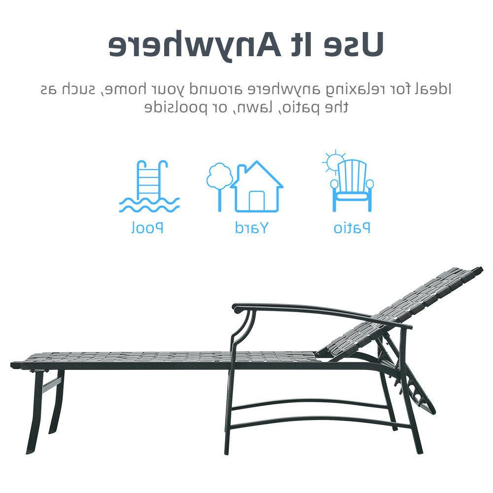 Patio Adjustable Strap Chaise Reclining Beach