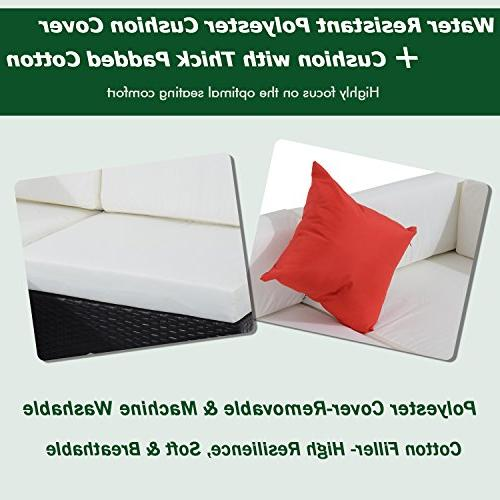 Outsunny 7 Patio Rattan Wicker Sectional Furniture