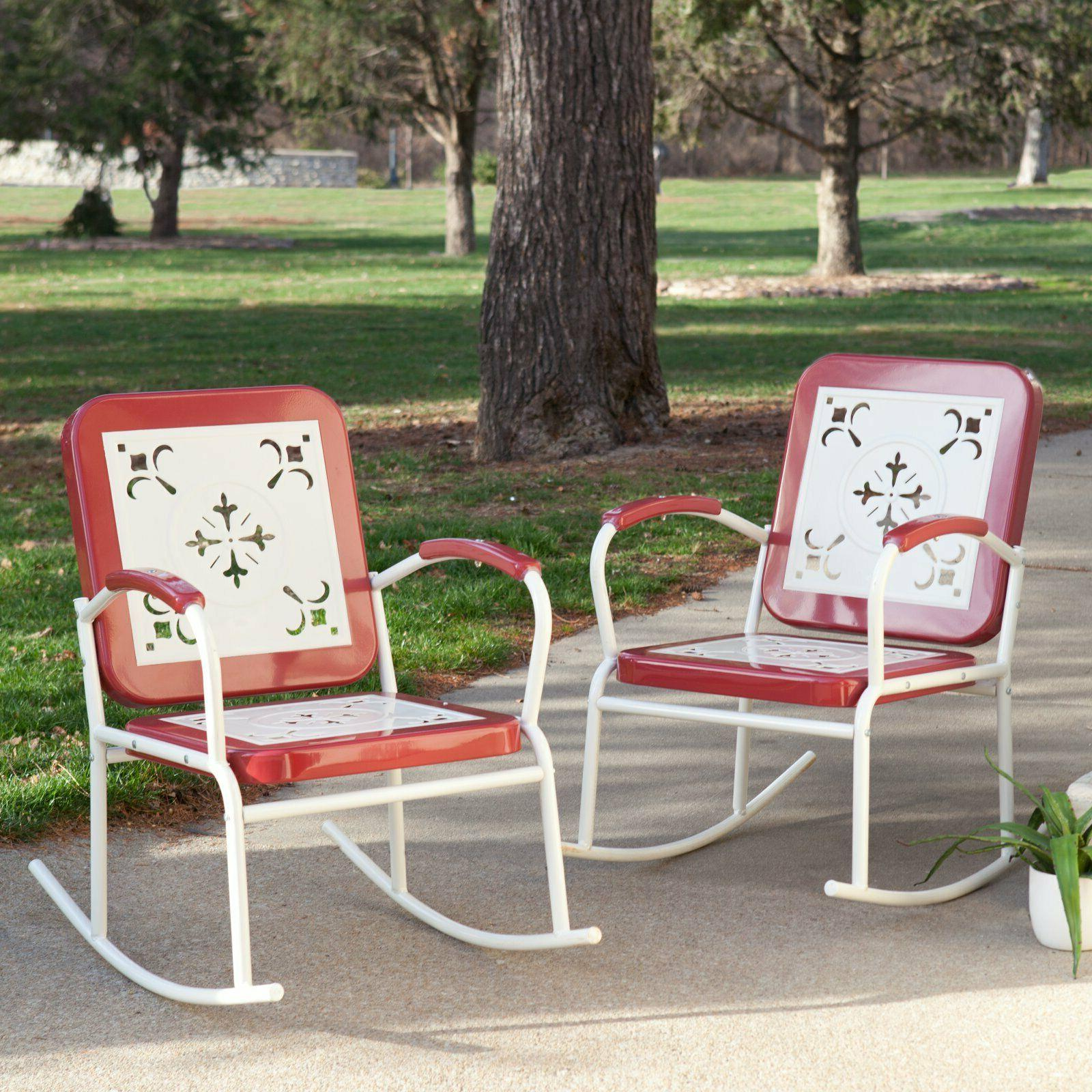 Set of 2 Retro Rocking Chairs Metal Antique Style Rocker Sea