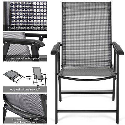Set of Patio Folding Chairs Camping Deck Garden Pool W/Armrest