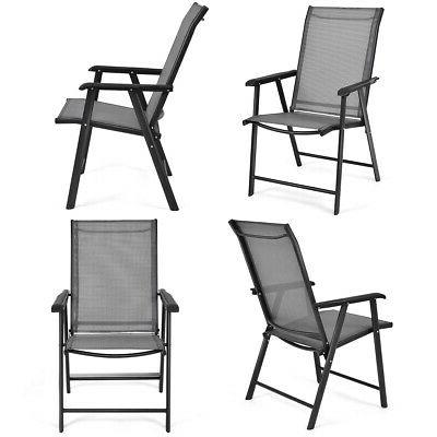 set of 4 outdoor patio folding chairs