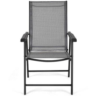 Set 4 Patio Chairs Deck Pool Beach W/Armrest