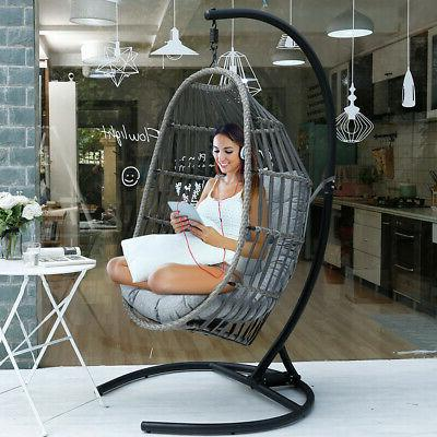 Outdoor Large Hanging Swing Chair Wicker Stand Porch &