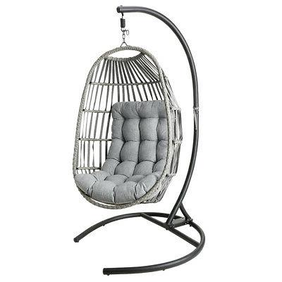 Outdoor Patio Large Hanging Egg Wicker Porch & Cushion