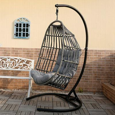 Outdoor Patio Hanging Wicker w/ Stand Porch & Cushion