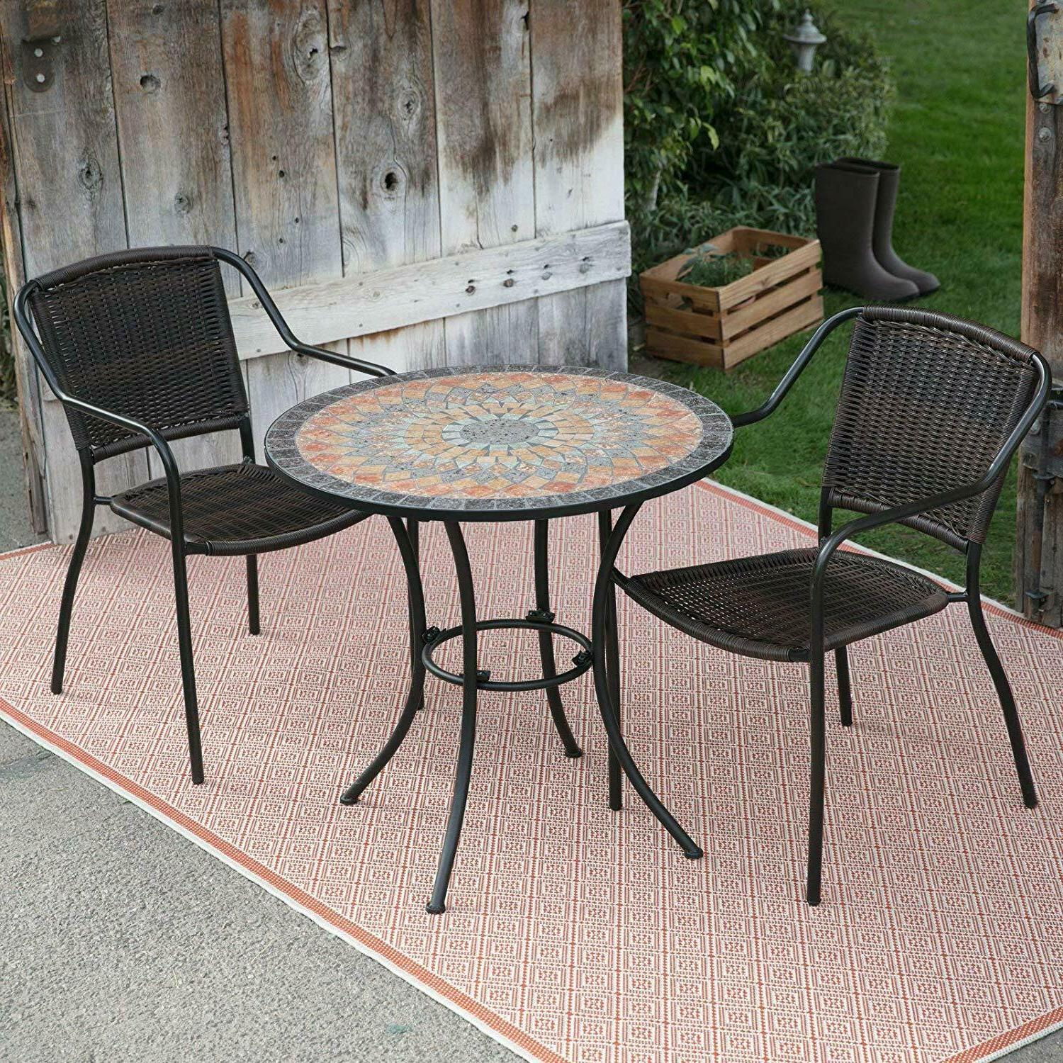 Mosaic Inlaid Stone 3 Piece Patio Bistro Set Small Space Out