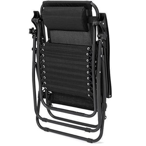 Best of 2 Gravity Recliners for Patio, Holder Black