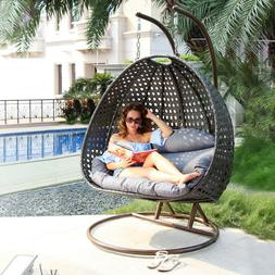 Island Gale Luxury 2 Person Wicker Swing Chair  X-Large, Cha