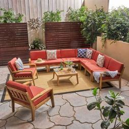 Madeline Sectional Sofa Set for Patio, Acacia Wood with Cush