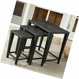 Mayall Patio Furniture 3 Piece Black Nested Outdoor Wicker S