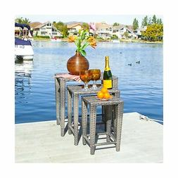 Mayall Patio Furniture 3 Piece Grey Nested Outdoor Wicker Si