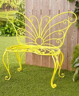 Metal Yellow Butterfly Outdoor Bench Seat Spring Porch Patio