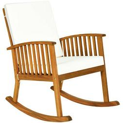 Natural Acacia Wood Rocking Chair Outdoor Patio Rocker with
