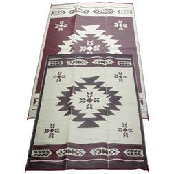 Fireside Patio Mats Navajo Breeze Burgundy And Beige 6 ft. x
