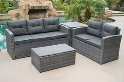 NEW 4PC Patio Rattan Wicker Sectional Set Sofa Loveseat Cush