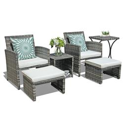 New 6 pcs patio wicker conversation storage coffee table sof