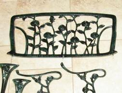 New Roses Green Bench Patio Seat Metal Flowers Christopher K