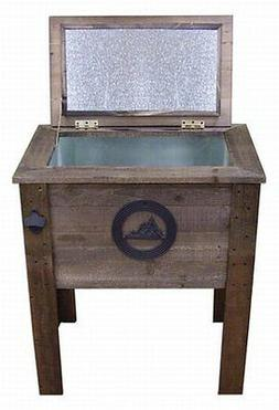 NEW Rustic Wooden 57 Quart Deck Cooler! Mountains Wood Patio