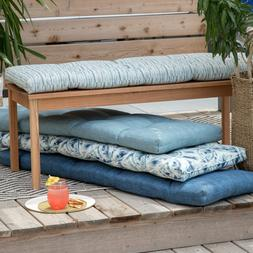 """Outdoor 55"""" Tufted Bench Cushion Pad 55 x 18 Blue Collection"""