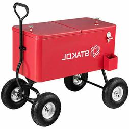 Outdoor 80QT Portable Rolling Party Wagon Cooler Drink Ice C