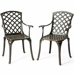 Outdoor Cast Aluminum Arm Dining Chairs Set of 2 Patio Bistr