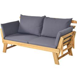 Outdoor Folding Daybed Patio Acacia Wood Convertible Couch S